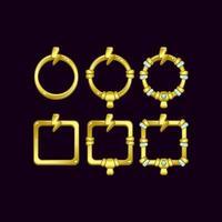 set di frame di confine dell'interfaccia utente di gioco con il simbolo del tuono per elementi di asset gui vettore