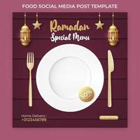 banner pubblicitario del ramadan. modello di post sui social media del ramadan vettore