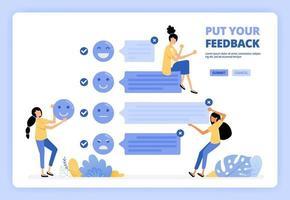 l'utente fornisce commenti e feedback sui servizi utilizzando l'emoticon facciale. esperienza utente positiva. progettato per pagina di destinazione, banner, sito Web, web, poster, app mobili, home page, flyer, brochure vettore
