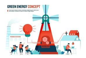 concetto di energia verde con risorse alternative per esigenze domestiche e industriali. progettato per landing page, banner, sito web, web, poster, app mobili, homepage, social media, flyer, brochure, ui ux vettore