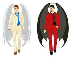 cartone animato di un angelo e un diavolo che indossa un abito vettore