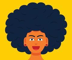 il volto sorridente dell'uomo con grandi capelli afro vettore