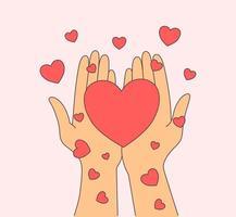 amore, relazione, concetto di romanticismo. mani della donna che tengono i cuori rossi. illustrazione di stile di linea moderna vettore