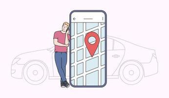car sharing e concetto di applicazione online. giovane vicino allo schermo dello smartphone con percorso e punto di posizione su una mappa della città con sfondo di auto. illustrazione vettoriale piatta