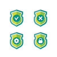 scudo con segno di spunta, croce, ingranaggio e serratura, icone vettoriali su white.eps