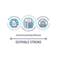 icona del concetto di software di contabilità cloud vettore