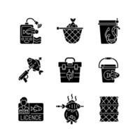 hobby e attività ricreative icone glifo nero impostato su uno spazio bianco vettore