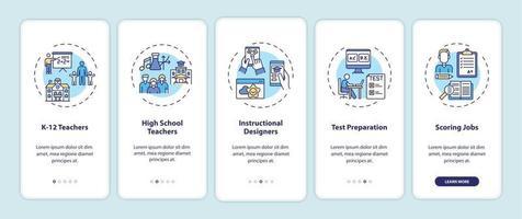 tipi di lavori di insegnamento online onboarding schermata della pagina dell'app mobile con concetti vettore