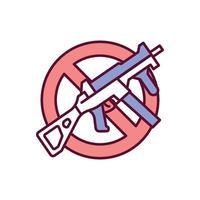 divieto di fucili d'assalto rgb icona a colori vettore