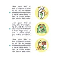 icona del concetto di benefici del compostaggio con testo vettore