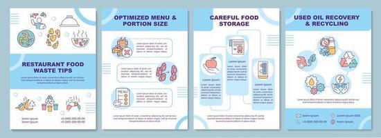 modello di brochure di suggerimenti per lo spreco di cibo del ristorante vettore
