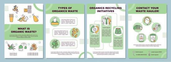 qual è il modello di brochure dei rifiuti organici vettore