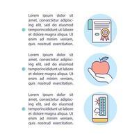 icona del concetto di conservazione degli alimenti attenta con testo vettore