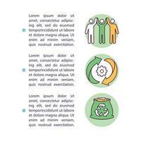icona di concetto di iniziative di riciclaggio di sostanze organiche con testo vettore