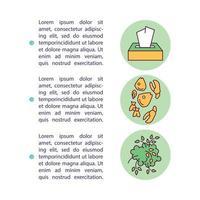 tipi di icona del concetto di rifiuti organici con testo vettore