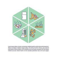 icona del concetto di spreco alimentare con testo vettore