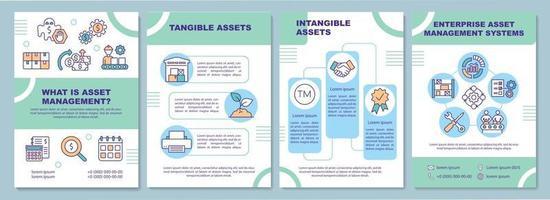 modello di brochure di asset tangibili e immateriali vettore