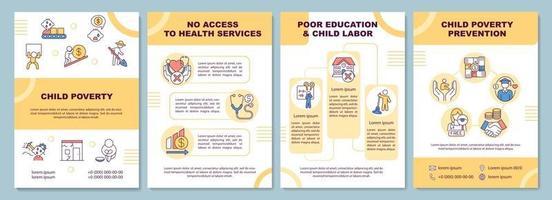modello di brochure sulla povertà infantile vettore