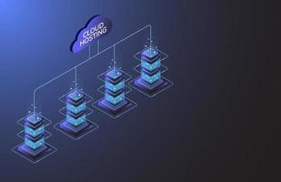 hosting su cloud. industria delle apparecchiature Internet. tecnologia di trasmissione dati e protezione dei big data. 3D design piatto isometrico. illustrazione vettoriale