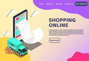 shopping online concetto web isometrico. grande marketing digitale per smartphone ed e-commerce con bollette enormi. supermercato nel negozio online del dispositivo. illustrazione vettoriale