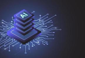 chipset isometrico di intelligenza artificiale sul circuito stampato in opere d'arte futuristiche di tecnologia concettuale per web, banner, carta, copertina. illustrazione vettoriale
