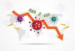 impatto di covid-19 sull'economia globale e sui mercati azionari, concept design di crisi finanziaria. illustrazione vettoriale