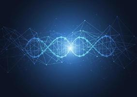 modello di scienza, carta da parati o banner con molecole di DNA. vettore