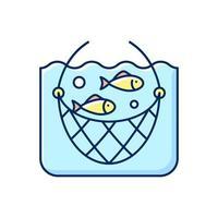 icona di colore rgb rete da pesca vettore