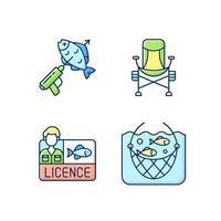 attrezzi speciali per la pesca set di icone di colore rgb vettore