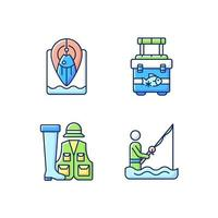 wade fishing rgb color icons set vettore