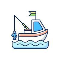 icona di colore rgb da pesca in barca vettore