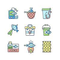hobby e attività ricreative set di icone di colore rgb vettore