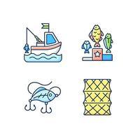 set di icone di colore rgb attrezzi da pesca vettore