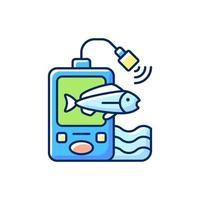 icona di colore rgb fish finder vettore