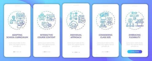 suggerimenti per l'insegnamento online onboarding schermata della pagina dell'app mobile con concetti vettore