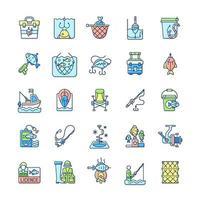 set di icone di colore rgb attrezzatura da pesca vettore