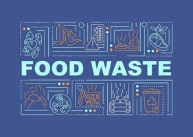 banner di concetti di parola di spreco alimentare vettore