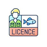 icona di colore rgb licenza di pesca. vettore