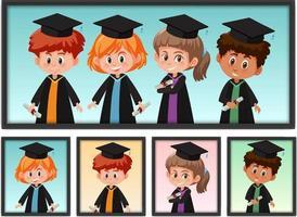 set di molti bambini in costume di laurea in cornice vettore