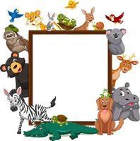 banner vuoto con molti diversi animali selvatici vettore