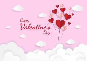 arte di carta dell'illustrazione amore e San Valentino, origami fatto volare in mongolfiera vettore