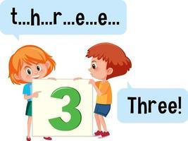 personaggio dei cartoni animati di due bambini che ortografano il numero tre vettore