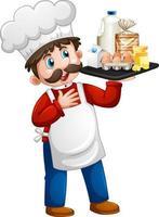 chef uomo che tiene gli ingredienti alimentari su un personaggio dei cartoni animati di vassoio isolato su sfondo bianco vettore