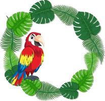 modello di banner di foglie verdi rotonde con un uccello pappagallo vettore