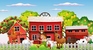 scena di fattoria con ragazzo contadino e animali da fattoria vettore