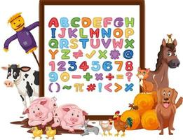alfabeto az e simboli matematici su una tavola con animali da fattoria vettore