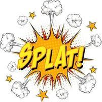 testo splat sul fumetto esplosione nuvola isolato su sfondo bianco vettore