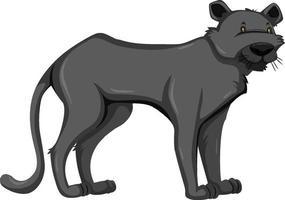 animale selvatico pantera nera su sfondo bianco vettore