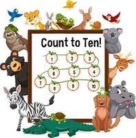 contare fino a dieci pensione con animali selvatici vettore