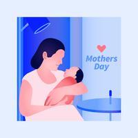 Progettazione moderna elegante della cartolina d'auguri con l'illustrazione del bambino e della madre